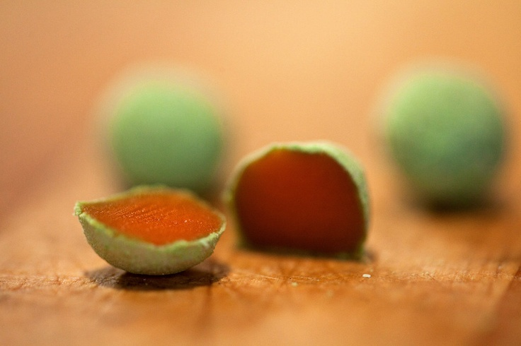 Balls of carrots rolled in pea powder - From Wylie Dufresne's completely redesigned menu at WD-50