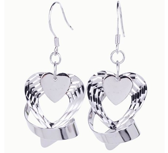 $3.97  Hot 925 Sterling Silver Charms Love Dangle Jewelry Earring 45x18mm