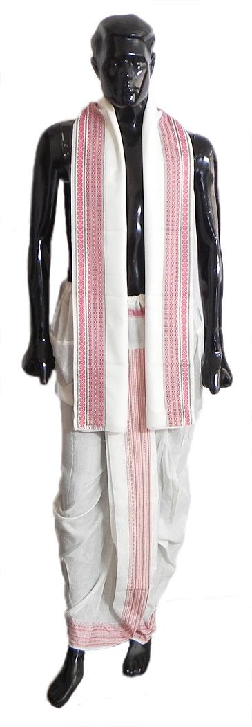 Pyjama Type White Color Dhoti and Angavastram with Red Border for Performing Puja (Cotton Polyester)