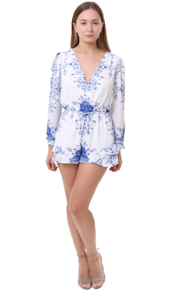 81e274d8685b Lovers   Friends lightweight printed jumper Spring Blossom Romper Temple  Scarf Print Chic One Piece V-Neckline Lovers and friends clothing
