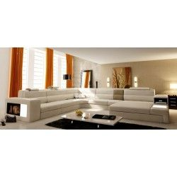 VIG Furniture   Polaris   Italian Leather Sectional Sofa In White    VGEV5022 WHT