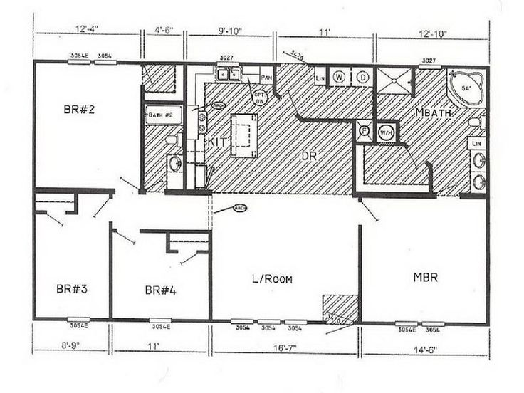 Double Wide Floor Plans Nc: Small Double Wide Mobile Home Floor Plans Design Ideas