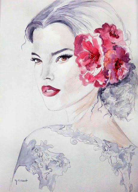 9 best dessins de femmes fleurs aquarelles images on pinterest drawings of water colors and - Fleurs en dessins ...
