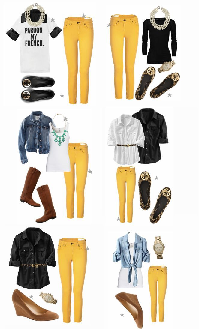 19 outfit ideas to wear your yellow jeans this spring