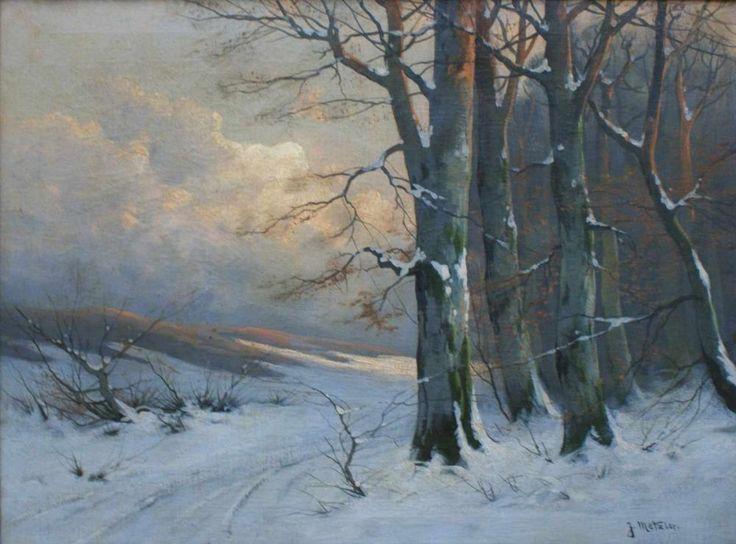 """Metzler, Jan """"Winterlandschaft mit Buchen"""", Anf. 20. Jh. Öl/Lw., weite Landschaft im Licht der unt"""
