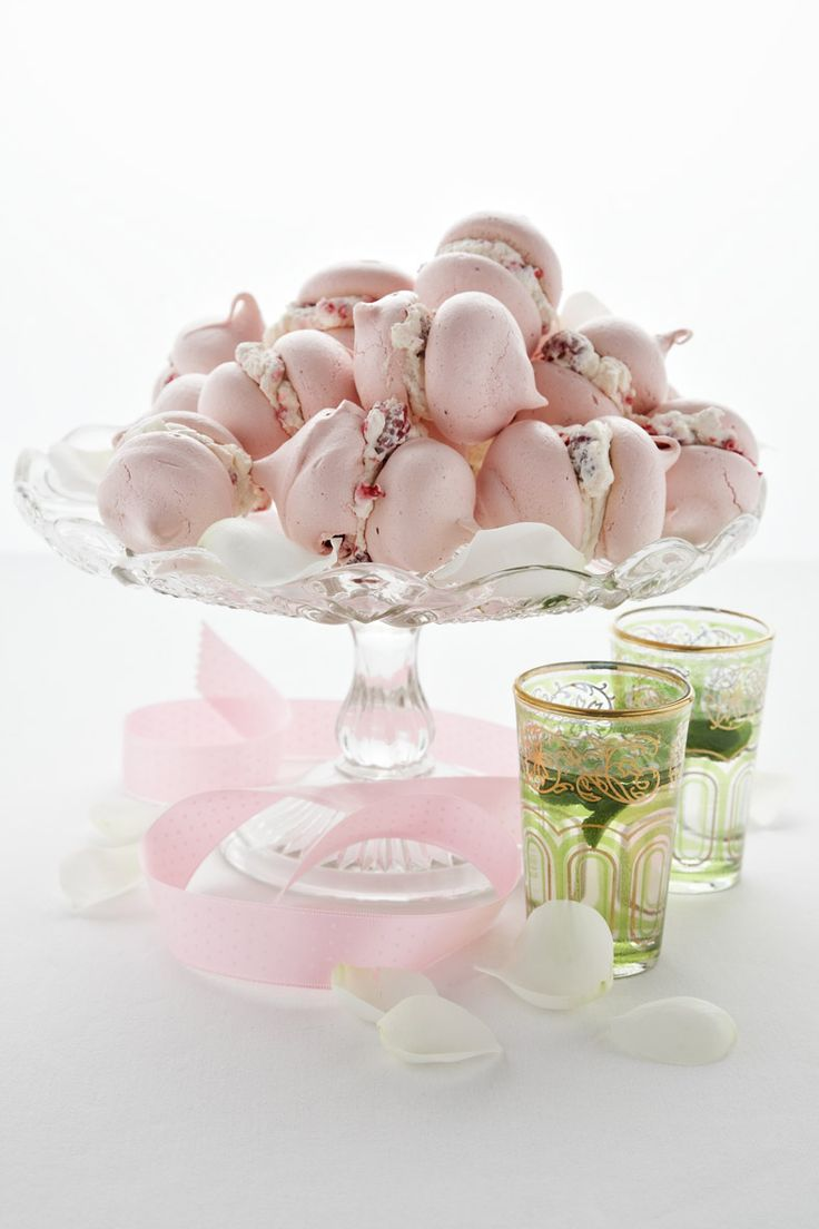 Baby rosewater meringues with raspberry cream // Rebeccah May, Exquisite Cake & Confectionery by Design