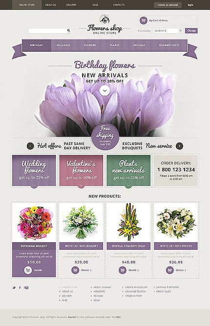 Flower Shop VirtueMart Template 47316 by Suresh PC, via Behance