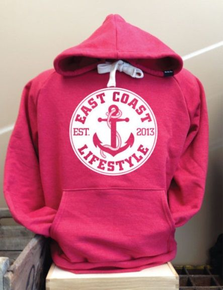 east coast lifestyle heather red anchor hoodie made in