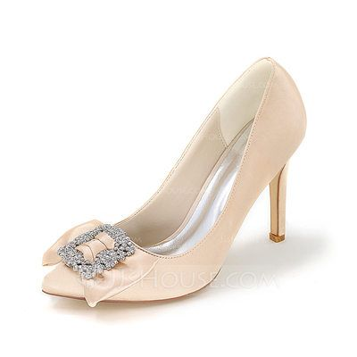 Women's Satin Stiletto Heel Closed Toe Pumps With Rhinestone (047093823)