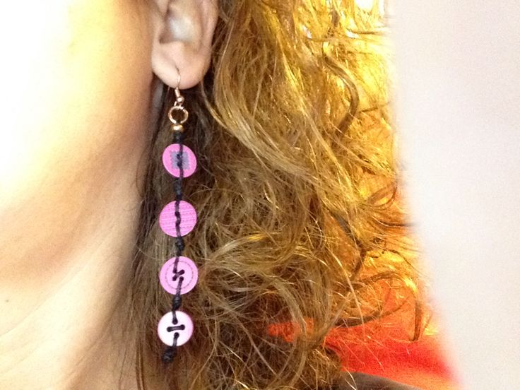Earrings with buttons and rose gold!!!