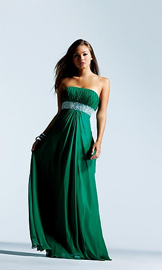 Floor length strapless gown with a beaded empire waist and ruched bust.