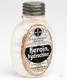 Antique Heroin ~ In the late 1800s heroin was an over-the-counter medicine until 1914 when it could only be used with a prescription. Heroin was later banned for medicinal use in 1924 ~ Often advertised as a cough suppressant / Retronaut