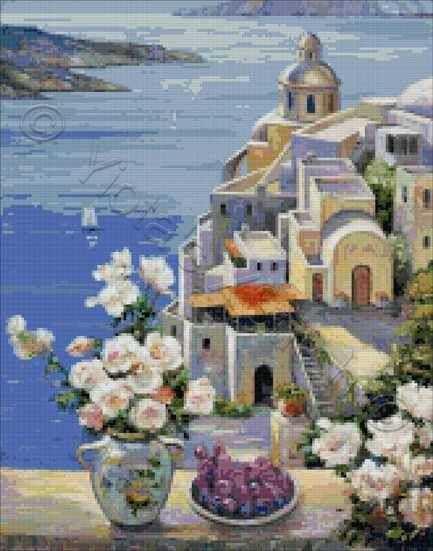 Mediterranean roses cross stitch kit or pattern