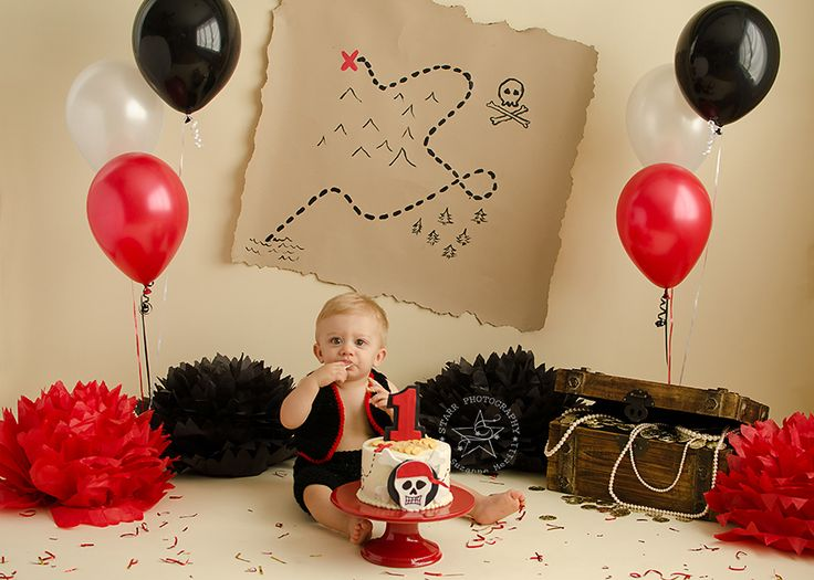 Pirate Cake Smash Photo Shoot by Starr Photogrpahy on a Savage Ivory Seamless Paper Backdrop