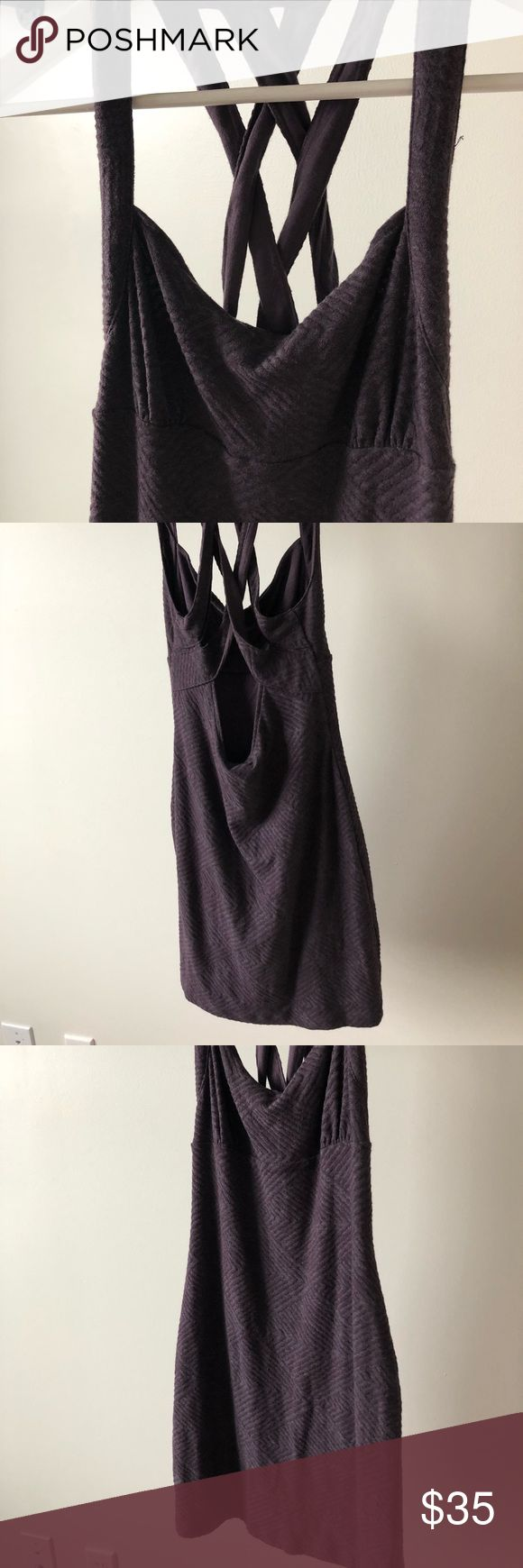"Free People Textured Purple Body Con Tank Dress S Free People Textured Purple Body Con Tank Dress Size small- Runs small fits like an XS- see measurements for best fit. Mini length Tank top Criss-cross back detail with scoop Scoop neck Empire waist Body-con Fitted silhouette Lined Grayish / Purple coloring  Body: poly/Cotton/rayon Lining: rayon  16"" armpit to armpit 20"" L - measured from empire waist under bust 12.5"" waist Free People Dresses Mini"