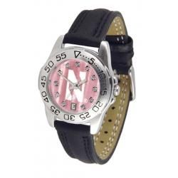 Northwestern University Ladies Leather Pink Sports Watch: Calendar Functional, Circles, Leather Bands, Scratch Resistance, Wrist Watches, Novelty Watches, Genuine Leather, Sports Watches, Rotator Bezel Tim