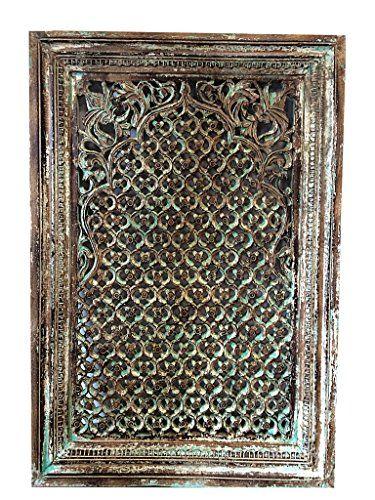 Indian Antique Jharokha Window Floral Hand Carved Teak Antique Window Frame Architectural Mogul Interior http://www.amazon.com/dp/B00QEZB74S/ref=cm_sw_r_pi_dp_-5tOub1885DRG