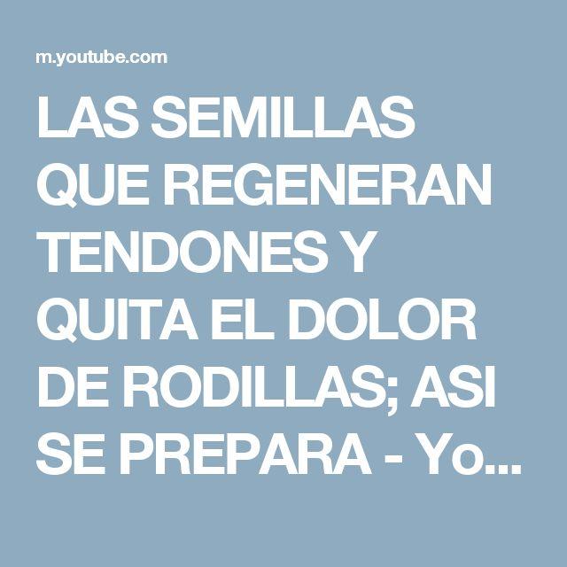 LAS SEMILLAS QUE REGENERAN TENDONES Y QUITA EL DOLOR DE RODILLAS; ASI SE PREPARA - YouTube