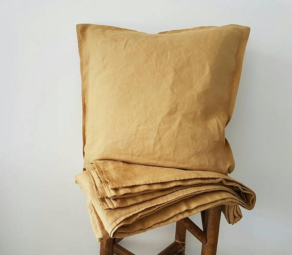 Premium quality 100 % pre-washed European Linen duvet cover&pillow case in Mustard Yellow . Organic flax bedding . High quality bedding for you and your loved ones!  Duvet Cover is made of pre-washed high quality linen , so it wont shrink anymore.  Duvet cover:  - 135x200 cm / 54x79 inches  - 140x200 cm / 55x79  - 140x210 cm / 55x83  - 140x220 cm / 55x87  - 150x200 cm / 59x79  - 155x200 cm / 61x79  - 160x210 cm / 63x83   - 173x220 cm / 68x87  Pillow...