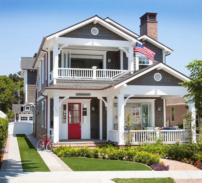Shingle cottage with red front door. Red door paint color is Pratt and Lambert Apple Candy. Grey cedar shingles cottage with red front door. Flagg Coastal ... & 130 best Coastal Homes images on Pinterest | Coastal homes Beach ... Pezcame.Com