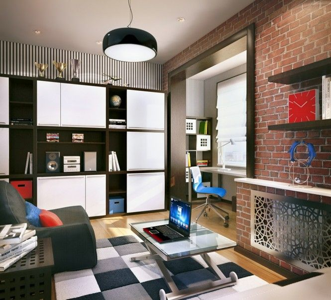 black white teenage kids room scheme - Brick Kids Room Decor