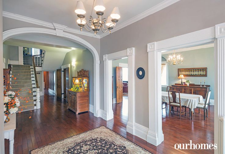 Lakehurst's main entrance was restored with trim to match the original woodwork. Wide hallways make it a spacious home.   See more of this home in OUR HOMES Peterborough Early Summer 2016 http://www.ourhomes.ca/articles/build/article/180yearold-cobourg-loyalist-home-restored
