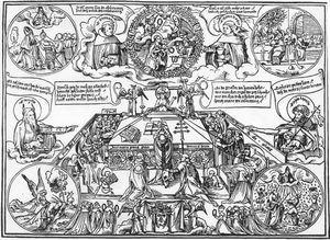 Wolf Traut, Gregorsmesse mit dem gekreuzigten Christus als Ursprung der Sieben Sakramente, 1515,  Badische Landesbibliothek, Karlsruhe, .uni-muenster de