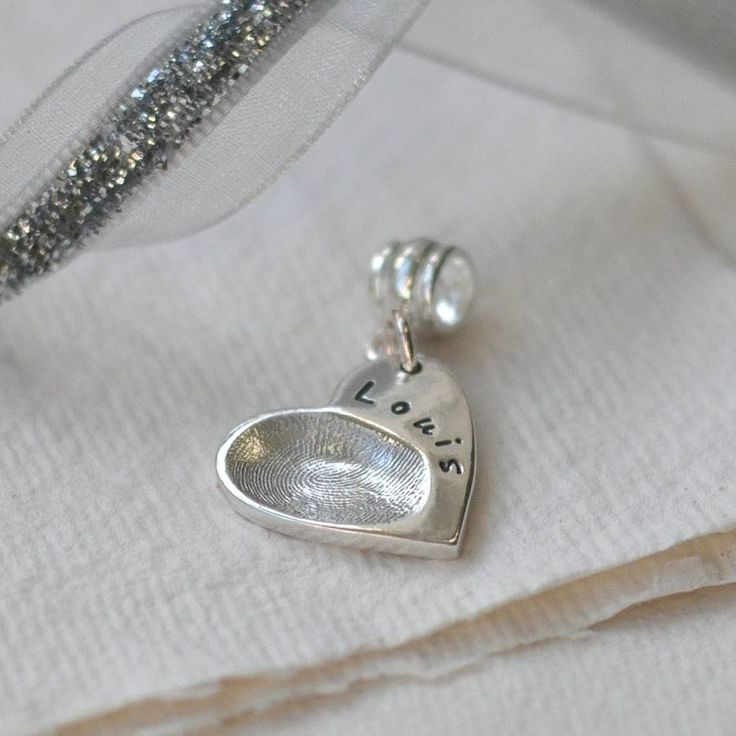 Silver Fingerprint Heart Charm With Fitting