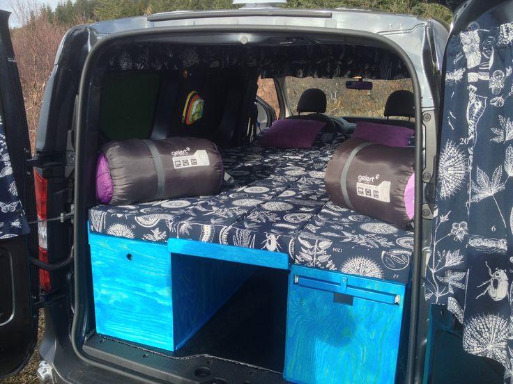 Dacia Dokker sleeping area  200x130cm #campervanrental #mini camper