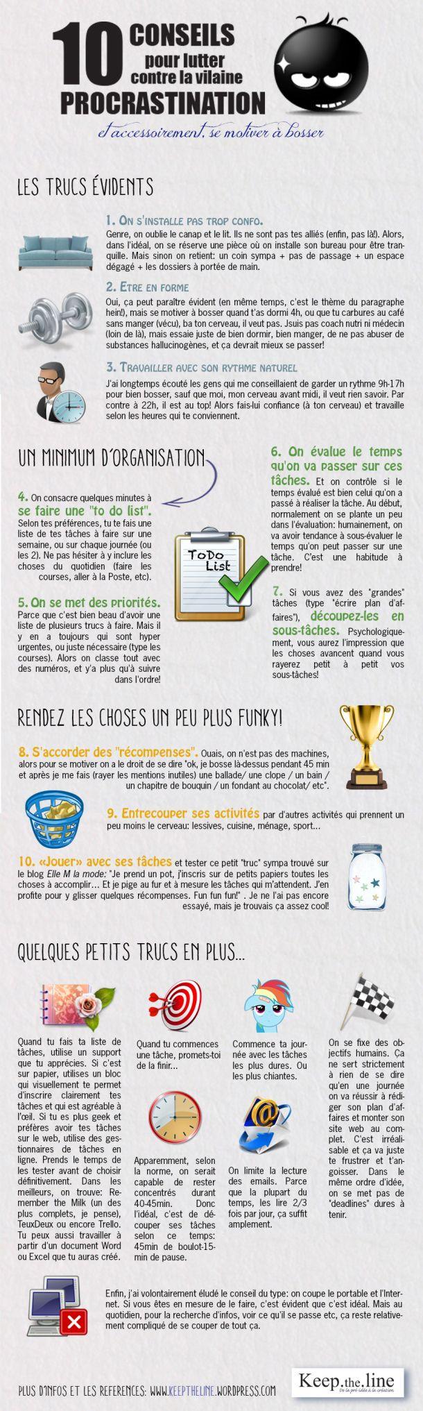 Lutter contre la vilaine procrastination #business #entreprise #entrepreneur #infographie #conseils