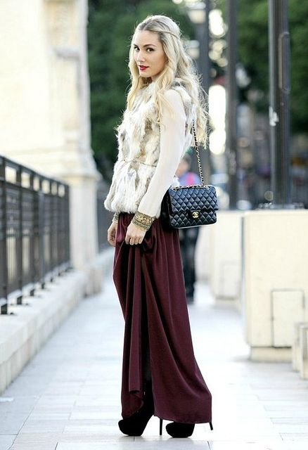 maroon maxi skirt