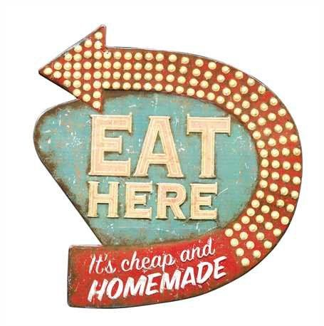 """Eat Here"" Retro Tin Sign"