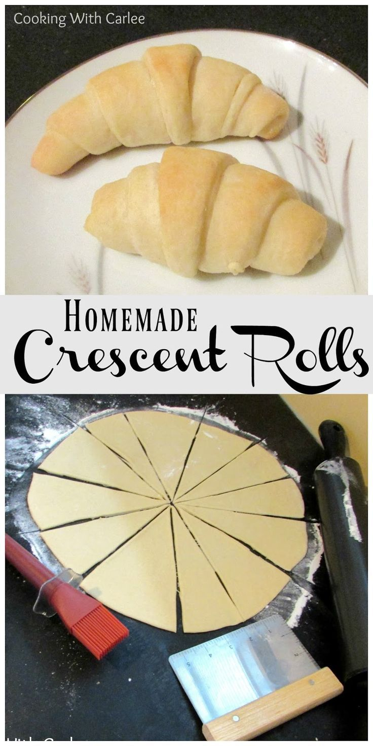 These homemade crescent rolls are light and buttery without the pop of the can!  The recipe makes 4 dozen, but you can easily make a dozen now and put the rest in the freezer for later.  So good!