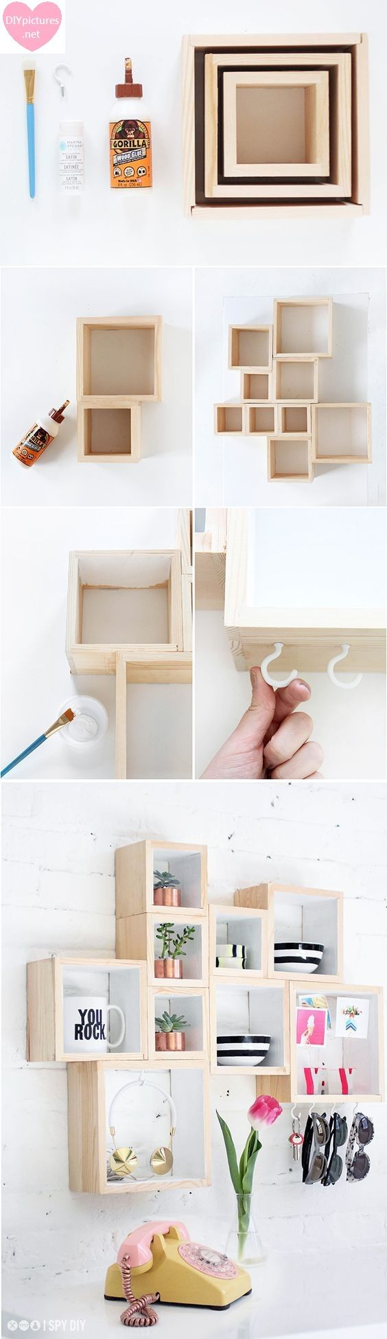 Pequeña Estantería Con Cajas de Madera We need these items: one glue, one paintbrush and the other things. Let's this start and finish it.We need shelf like square. And then we will pieces togethe…