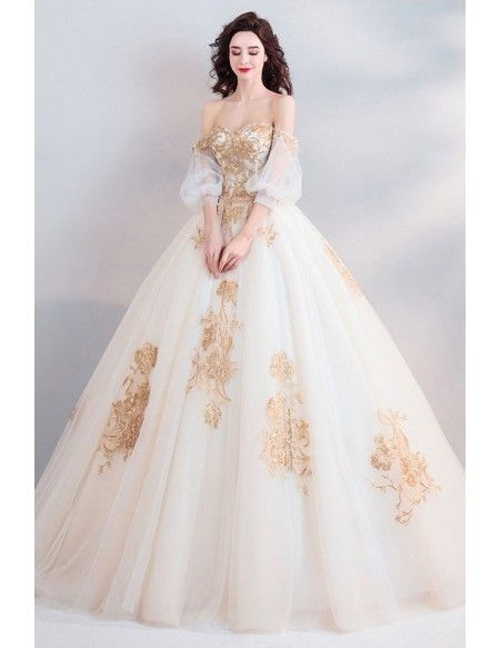 941ce65c10 Classic Gold With White Ball Gown Princess Wedding Dress Off Shoulder  Wholesale  T69025 - GemGrace.com