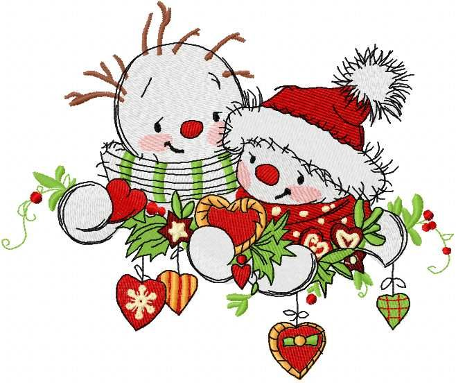 snowmen meet the new year machine embroidery design 2. Machine embroidery design. www.embroideres.com