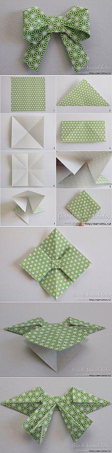 Как сложить красивый бант из бумаги в технике оригами