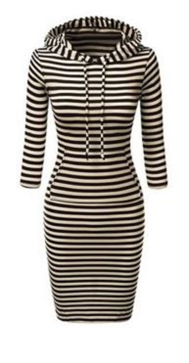 Stylish BodyCon Hoodie Dress! Black and White Striped Hooded Long Sleeve Bodycon Hoodie Dress