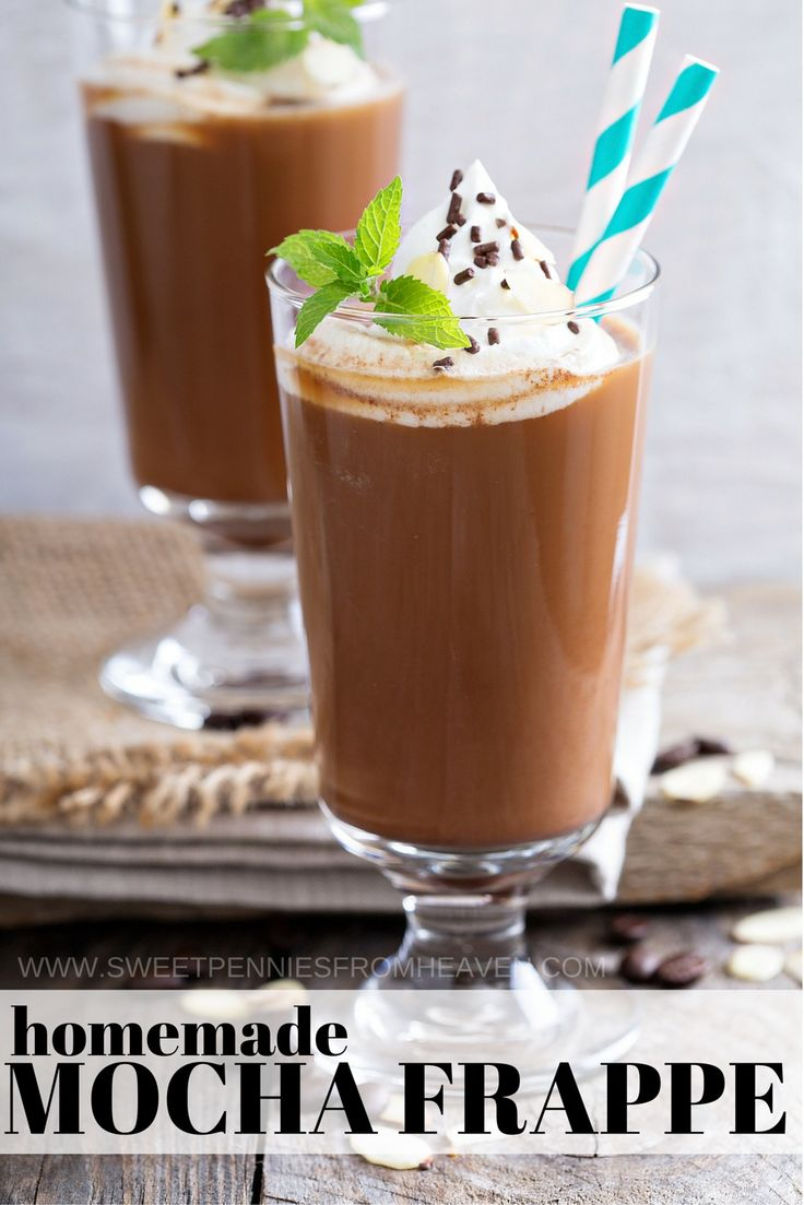 Do you need a homemade mocha frappe recipe? Look no further...we have the perfect and EASY homemade frappe recipe for you! This sweet coffee drink recipe is one that we make ALL the time! We share sugar-free mocha frappe variations, along with low calorie coffee drink options. My favorite part is making our mocha frappe recipes in batches. Prepare it once, and make enough to enjoy the entire week! We'll tell you how!