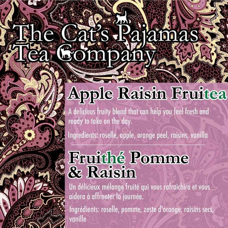 Apple-Raisin Fruitea  A delicious fruity blend that can help you feel fresh and  ready to take on the day.  Ingredients: roselle, apple, orange peel, raisins, vanilla  Fruithé Pomme & Raisin