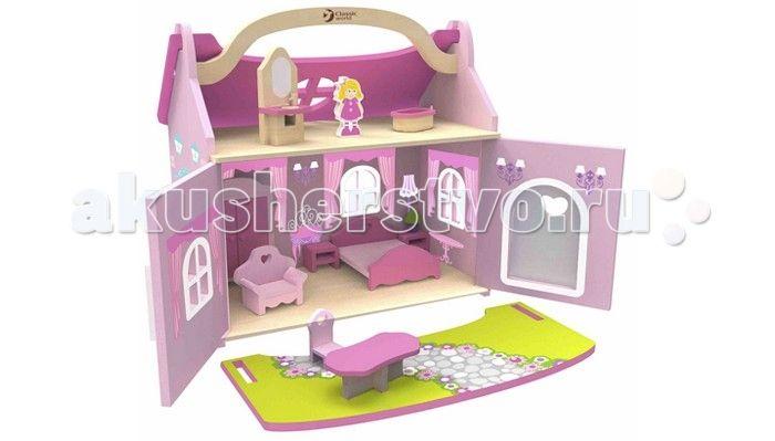 Classic World Домик маленькой принцессы  Домик маленькой принцессы это деревянный домик-чемодан с мебелью и куклой.  Дворец маленькой принцессы, с удобной ручкой для переноса и съемной крышей, в котором имеются десять предметов интерьера, таких как  шкаф, кровать, 2 тумбочки и лампа, кресло, стол и стул, зеркало с раковиной и ванна, подходит для кукол и фигурок животных до 15 см.  Домик изготовлен из экологически чистого дерева с использованием красок, безопасных для здоровья ребенка.