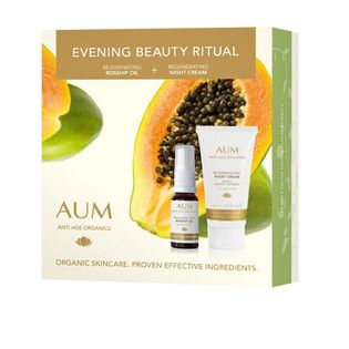 AUM Evening Beauty Ritual Pack - $34.95. Enjoy luxurious evening pampering to help renew skin overnight.   During sleep, skin produces up to 40% more skin cells than while awake. Encourage this skin renewal process with two targeted treatments and wake up to a brighter, more youthful looking complexion.