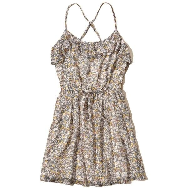 Hollister Ruffle Chiffon Easy Waist Dress ($50) ❤ liked on Polyvore featuring dresses, grey floral, flower print dress, grey dress, strappy dress, flutter-sleeve dress and floral print dress