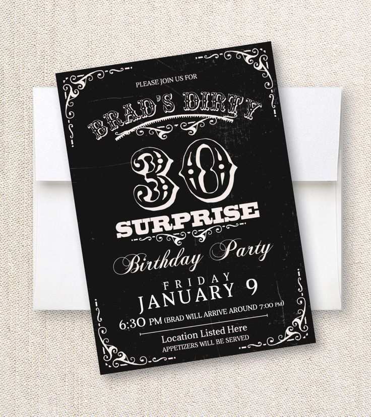 wording0th birthday party invitation%0A Dirty Thirty Thirtieth Birthday Surprise Party Invitation    Years by  PaperhillDesign on Etsy https