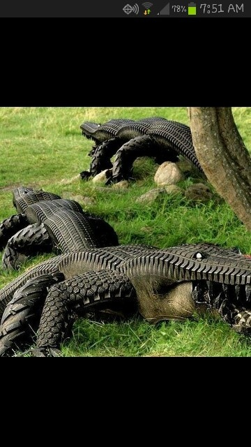 Lawn alligators... Recycled tires