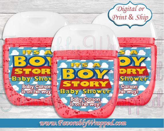 Toy Story Baby Shower Hand Sanitizer Labels Its A Boy Story Hand