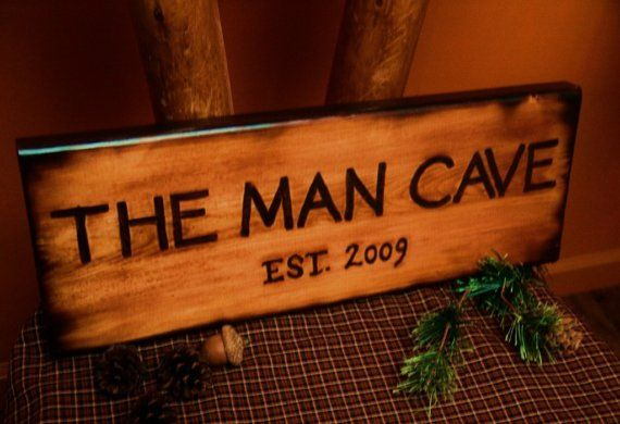THE MAN CAVE Wood Sign Burned Rustic Log Cabin by TheSnowshoeLoft