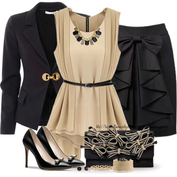 Bows...love this outfit featuring Versace blazers, Coach pumps and Coach necklaces
