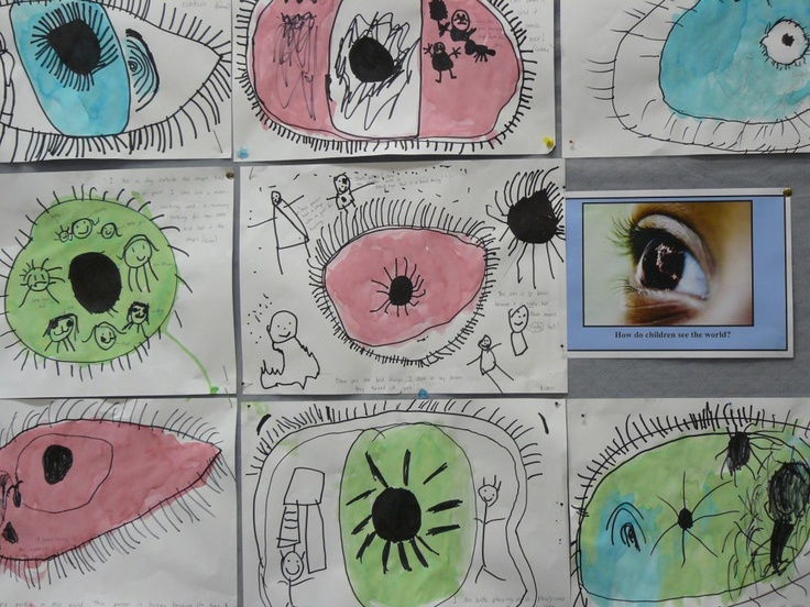 """""""how do children """"see"""" the world: there were layers to this learning. this piece of artwork was evidence of the children's current perceptions of the world. we talked of eyes and seeing; we watched a youtube snippet on the part of the brain and how it influences """"what"""" we see; we looked at eyes and eye colour in our class; we conversed about world and what each person sees through their eyes; we drew and we painted."""" via reggio children inspired on facebook"""