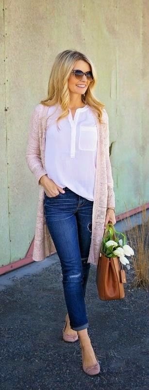 White blouse, cuffed jeans, neutral cardigan, flats
